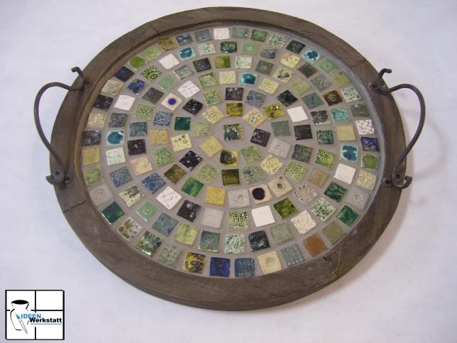 Tablett gr n rund ideen werkstatt onlinehop - Mosaikfliesen rund ...